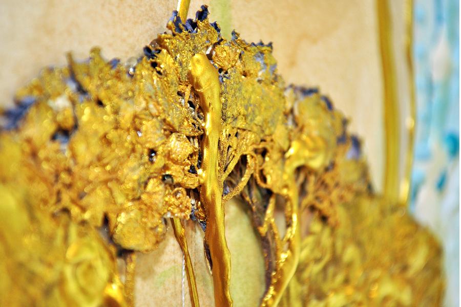 Engel Cherubim / Ausschnitt - Hortensiengold